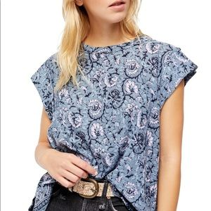 Free People High Tide Dual Print T-Shirt New M